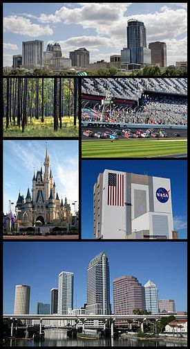 Central Florida Images top from bottom, left to right: Orlando Skyline, Ocala National Forest, Daytona International Speedway, Walt Disney World, Kennedy Space Center, Tampa Skyline