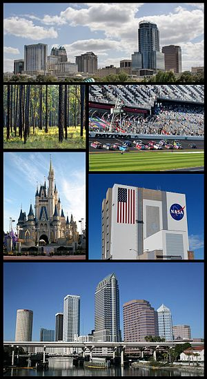 Central Florida - Central Florida Images top from bottom, left to right: Orlando Skyline, Ocala National Forest, Daytona International Speedway, Walt Disney World, Kennedy Space Center, Tampa Skyline