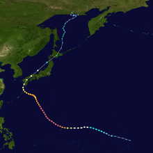 Map showing the path of a tropical cyclone as represented by colored dots. The location of each dot corresponds to the storm's position at six-hour intervals, and the color of each dot denotes its intensity at that position.