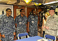 Chairman of the Joint Chiefs of Staff U.S. Army Gen. Martin Dempsey, right, meets with, from left, Navy Culinary Specialist Seamen Darnel Bracewell and Tyree Lesain and Chief Culinary Specialist Jamario Sheppard 140630-N-DB801-236.jpg