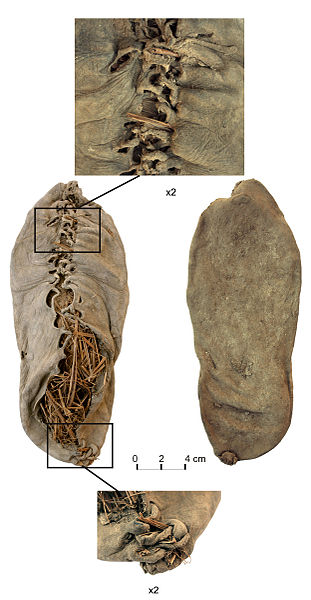 File:Chalcolithic leather shoe from Areni-1 cave.jpg