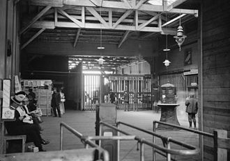 Pavonia Terminal - The waiting room of the Erie Railroad's Chambers Street Ferry Terminal, c 1900.