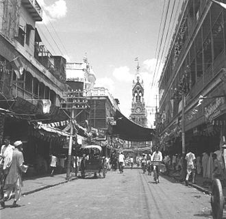Chandni Chowk - Indian National Flag hoisted on Ghantaghar at Chandni Chowk, 15 August 1947.