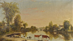 Charles Baker (artist) - River Landscape with Cattle (1863).