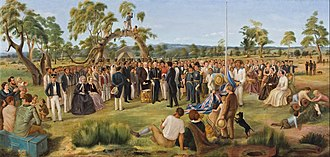 History of Australia (1788–1850) - The Proclamation of South Australia in 1836. Painting by Charles Hill, Art Gallery of South Australia, Adelaide.