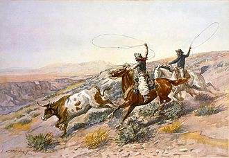 A classic image of the American cowboy, as portrayed by C.M. Russell Charles Marion Russell - Buccaroos (1902).jpg