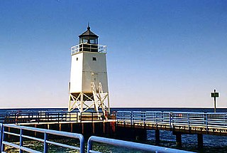 Charlevoix South Pier Light Station lighthouse in Michigan, United States
