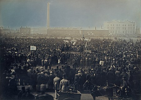 Photograph of the Great Chartist Meeting on Kennington Common, London in 1848 Chartist meeting on Kennington Common by William Edward Kilburn 1848 - restoration1.jpg