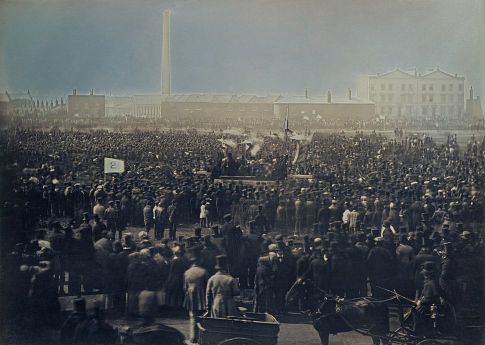 Chartist meeting on Kennington Common by William Edward Kilburn 1848 - restoration1