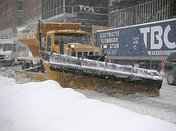 A street plow in Quebec City, Canada