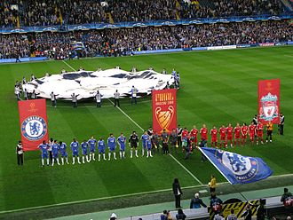 2008 UEFA Champions League Final - The Chelsea and Liverpool teams line up ahead of the second leg of their semi-final at Stamford Bridge. Chelsea won 3–2 after extra time (4–3 on aggregate) to qualify for the final.