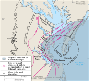 Chesapeake Bay impact crater - Boundaries of the crater