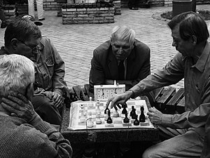 Rules of chess - A game in a public park in Kiev, using a chess clock
