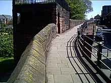 Part of the north wall of Chester, showing Morgan's Mount
