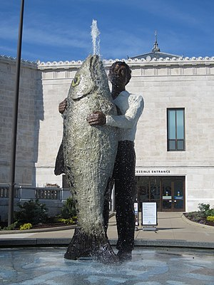 Man with Fish - The sculpture in 2015