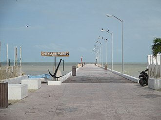 Chicxulub crater - The Center of the Chicxulub Impact Crater  lies out to sea from the Chicxulub Wharf