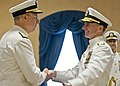 Chief of U.S. Naval Operations Adm. Jonathan Greenert, right, congratulates Vice Adm. Kevin McCoy during his retirement and change of command ceremony in Washington, D.C., June 7, 2013 130607-N-ZI511-569.jpg