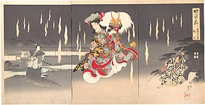 Toyohara Chikanobu - Print depicting Yaegaki-hime carrying the helmet of the warrior Takeda Shingen as she dances amid magical foxfires in Honcho Nijushiko. Triptych by Chikanobu.