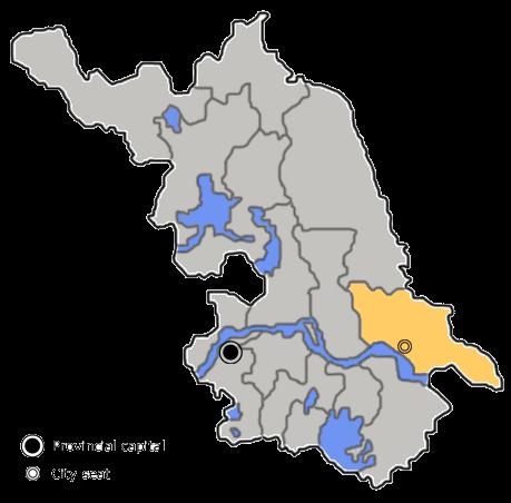 Location of Nantong City jurisdiction in Jiangsu