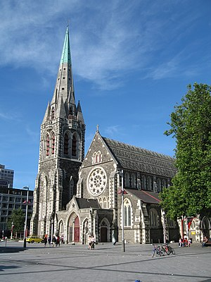 Christchurch - ChristChurch Cathedral before its partial collapse in the 2011 earthquakes