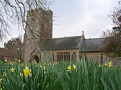 Stone building with prominent square tower. In the foreground are daffodils.