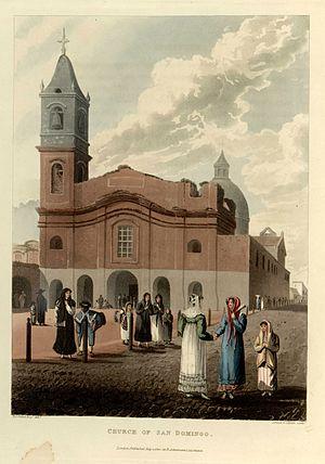 Emeric Essex Vidal - Image: Church of San Domingo Emeric Essex Vidal Picturesque illustrations of Buenos Ayres and Monte Video (1820)