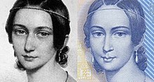 Vergleich eines Ausschnitts aus der Lithografie von Andreas Staub und der Darstellung Clara Schumanns auf dem 100-DM-Schein (Quelle: Wikimedia)