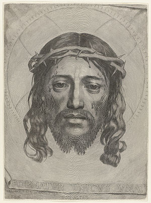 Claude Mellan - Sudarium of Saint Veronica, engraving by Claude Mellan, 1649