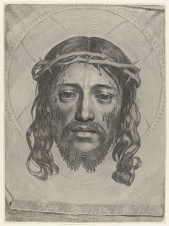 Holy Face of Jesus - Veronica's veil, by Claude Mellan (c. 1649).