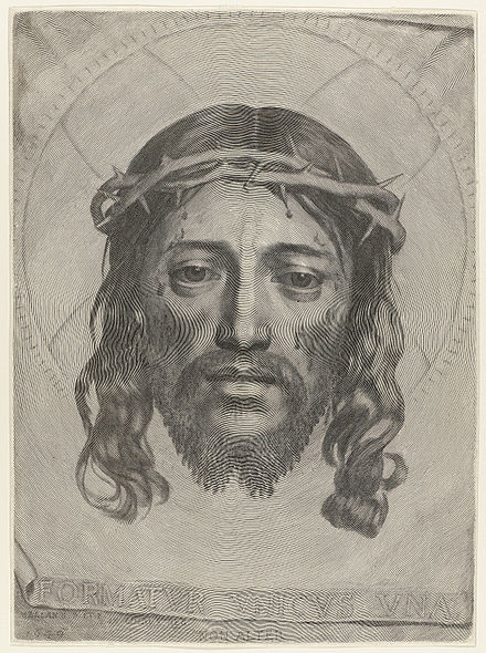 Sudarium of Saint Veronica by Claude Mellan (1649), a famous showpiece where the image is formed by a single continuous line, starting on the tip of Christ's nose. Claude Mellan - Face of Christ - WGA14764.jpg