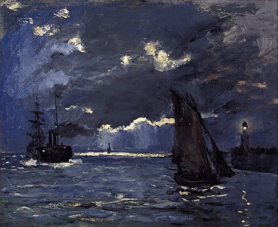 """A Seascape, Shipping by Moonlight"" de Claude Monet à la galerie Nationale d'Ecosse (1864)."