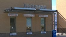A The ticket window of Clay Gould Ballpark