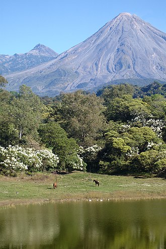 Colima - View of the volcanoes from Carrizalillos Lake