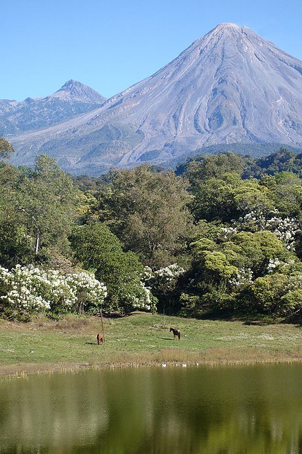 View of the volcanoes from Carrizalillos Lake Colima Volcanoes from Carrizalillos Lagoon.jpg