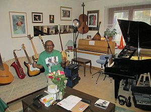 Multi-instrumentalist - A multi-instrumentalist surrounded by his instruments.