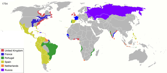 European colonial empires at the start of the Industrial Revolution, imposed upon modern political boundaries. Colonisation 1754.png