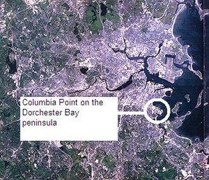 Columbia Point, Boston - Landsat image of Boston showing Columbia Point peninsula.