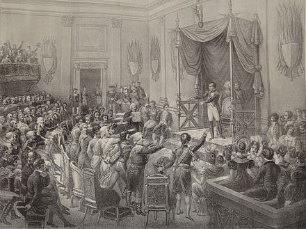 The German princes render homage to the protector Napoleon, shortly after the ratification of the Confederation treaty. This lithograph by Charles Motte was possibly made in the 1820s. The depiction should not be read literally; some princes were represented by envoys. Confederation of the Rhine swearing-in 1806.jpg