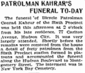 Conrad Kahrar (1865–1905) funeral on Saturday, February 25, 1905 in the Jersey Journal.png