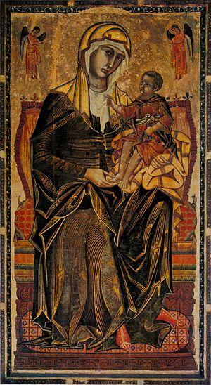 Madonna del Bordone - Image: Coppo di marcovaldo, madonna del bordone, siena, chiesa dei servi, 1261 tavola,