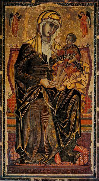 Archivo:Coppo di marcovaldo, madonna del bordone, siena, chiesa dei servi, 1261 tavola,.jpg