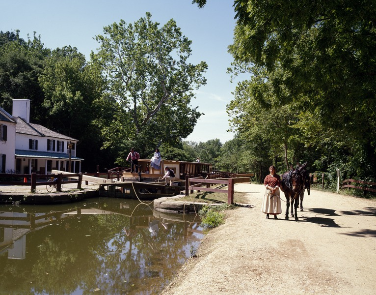 File:Costumed interpreter with a mule on the canal towpath at the Chesapeake and Ohio Canal Lock 20.tiff