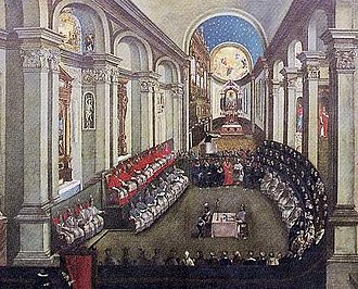Galileo affair - The Council of Trent (1545–63) sitting in the Basilica di Santa Maria Maggiore. The Roman Inquisition suspected Galileo of violating the decrees of the Council. Museo Diocesano Tridentino, Trento.