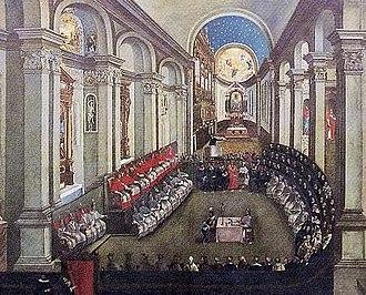 Il Concilio di Trento tenutosi nella Chiesa di Santa Maria Maggiore, in un dipinto conservato presso il museo diocesano tridentino, che trae spunto da una stampa precedente.