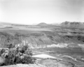Crater Hill lava flow from mesa above Grafton, Utah. ; ZION Museum and Archives Image ZION 14878 ; ZION 14878 (7664e8afa1ca4b3a90e27d4ad64405f8).tif