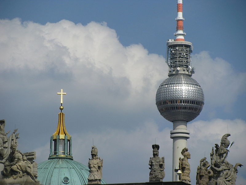 File:Crosses of Berliner Fernsehturm and Berliner Dom.jpg