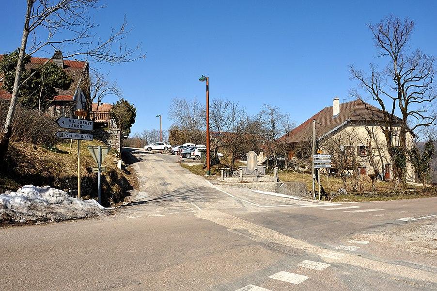 Crossroad in Crouzet-Migette; Franche-Comté, France.