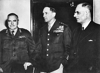 Kokoda Track campaign - General Douglas MacArthur (centre) with General Sir Thomas Blamey (left) and Prime Minister John Curtin (right) in March 1942