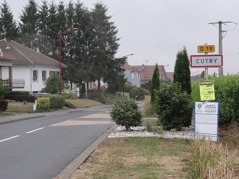 Cutry (Meurthe-et-M.) city limit sign