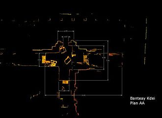 Banteay Kdei - Plan of Gopura portion of complex in its present state, cut from laser scan data